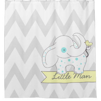 gray u0026amp white chevron with blue polkadots elephant shower curtain