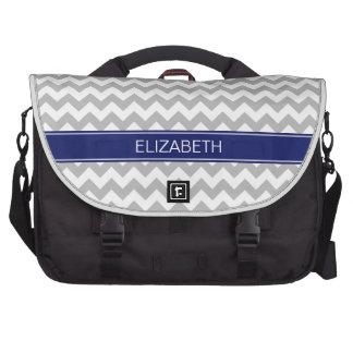 Gray White Chevron Zigzag 7P Navy Name Monogram Bag For Laptop