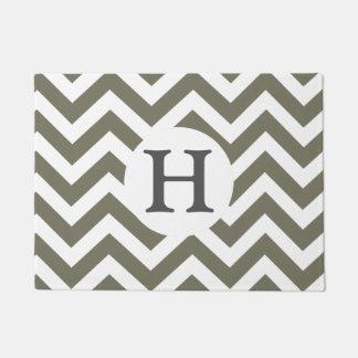 Gray White Chevron Zigzag Gray Monogram Doormat