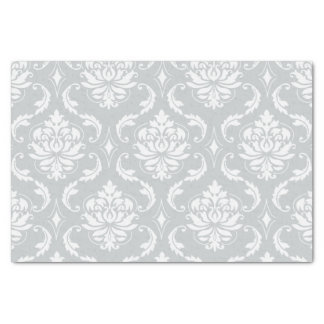 "Gray White Classic Damask Pattern 10"" X 15"" Tissue Paper"