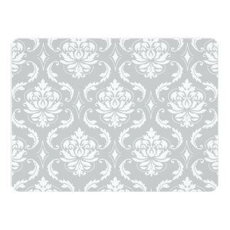 Gray White Classic Damask Pattern 6.5x8.75 Paper Invitation Card