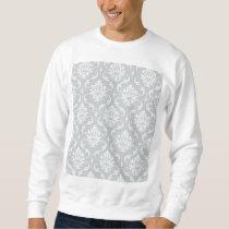 Gray White Classic Damask Pattern Sweatshirt