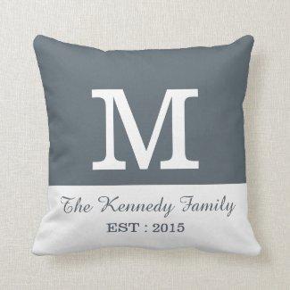 Gray White Color Block Reversible Family Monogram Throw Pillows