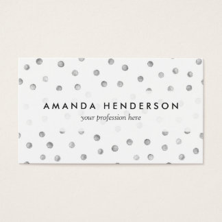 Gray White Confetti Dots Pattern Business Card