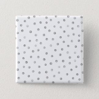 Gray White Confetti Dots Pattern Button