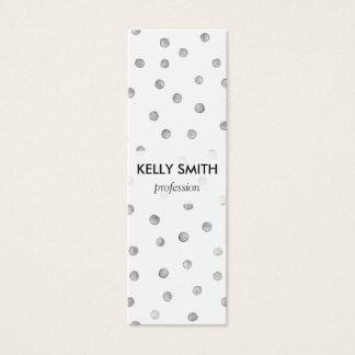 Gray White Confetti Dots Pattern Mini Business Card