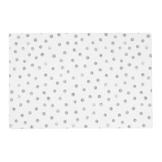 Gray White Confetti Dots Pattern Placemat