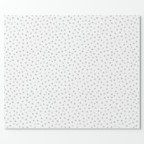 Gray White Confetti Dots Pattern Wrapping Paper