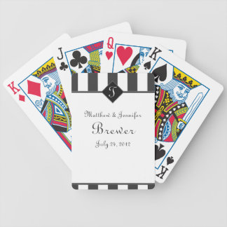Gray & White Custom Wedding Gift, Favor & Memento Bicycle Playing Cards
