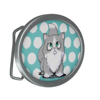 Gray & White Cutie Face Cat Belt Buckle