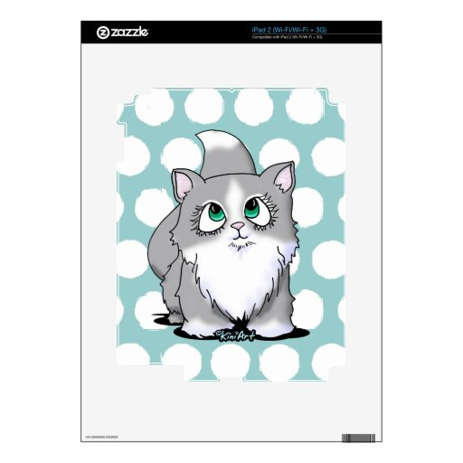 Gray & White Cutie Face Kitty Decal For iPad 2
