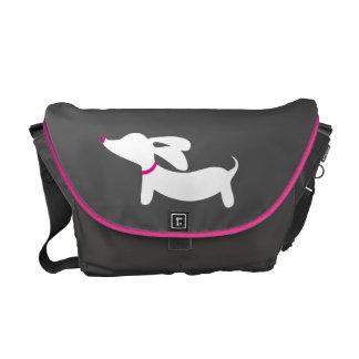 Gray & White Dachshund Messenger Laptop Bag