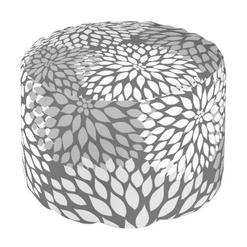 Gray White Dahlia Floral round pouf ottoman modern