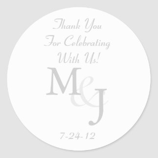 Gray & White Daisy Wedding Favor Labels w/ Text