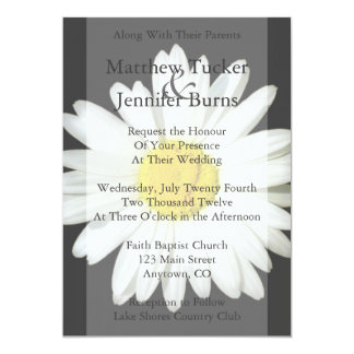 """Gray & White Daisy Wedding Invitation Announcement 5"""" X 7"""" Invitation Card"""
