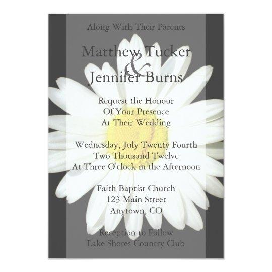 White Daisy Wedding Invitation: Whimsical Watercolor Botanical Wedding Invitation