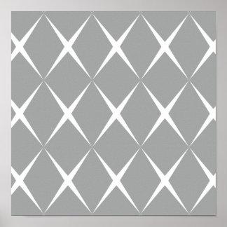 Gray White Diamond Poster