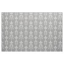 Gray white elegant damask pattern fabric