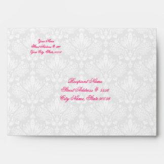Gray & White Elegant Damasks & Flower Design Envelope