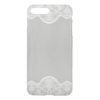 Gray White Floral Lace Wedding iPhone 7 Plus Case