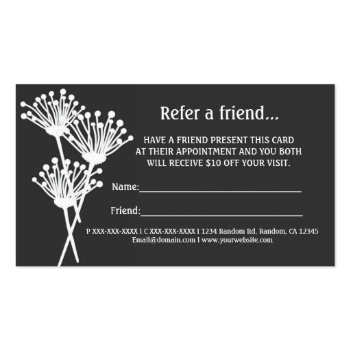 Gray white floral refer a friend business cards zazzle for Refer a friend business cards