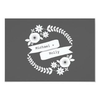 Gray & White Floral Wreath & Banner Wedding RSVP Card