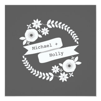 Gray & White Floral Wreath With Banner Wedding Card