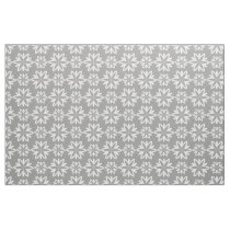 Gray white Flowers floral pattern fabric