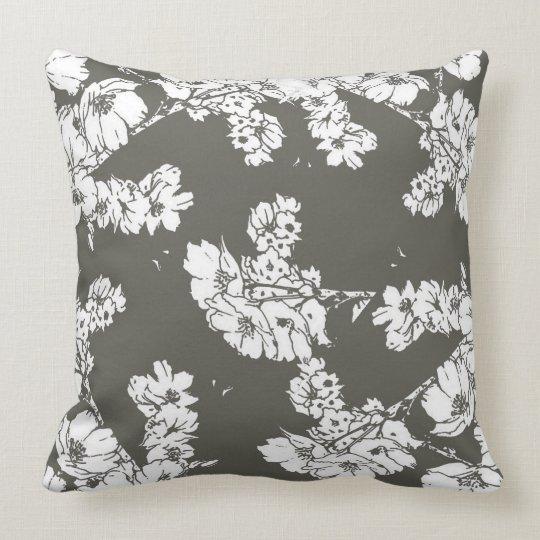 Gray White Flowers Pillow Modern Sofa Throw Cotton Zazzle