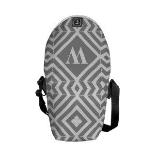 Gray White Geometric Monogram Mini Messenger Messenger Bag