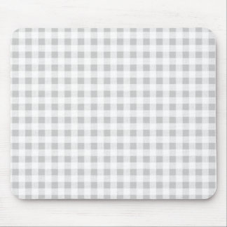 Gray White Gingham Pattern Mouse Pad