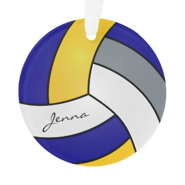 Beach Themed Gray, White, Gold and Blue Volleyball Ornament