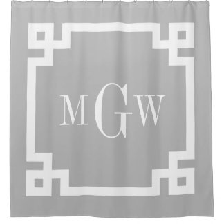 gray white greek key 2 framed 3i monogram shower curtain