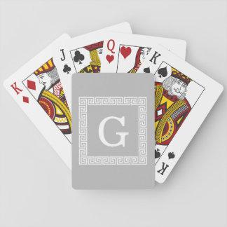 Gray White Greek Key Frame #1 Initial Monogram Card Decks