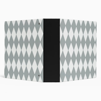 Gray White Harlequin Pattern Vinyl Binder