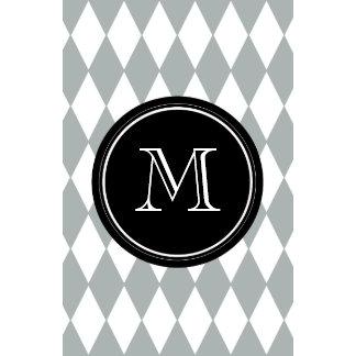 Gray White Harlequin Pattern Black Monogram Wall Calendars