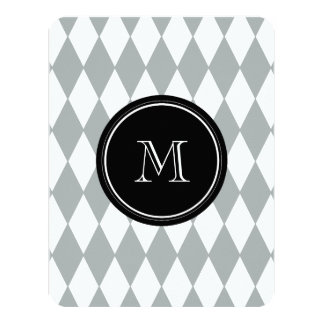 Gray White Harlequin Pattern, Black Monogram Card