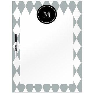 Gray White Harlequin Pattern Black Monogram Dry-Erase Whiteboard