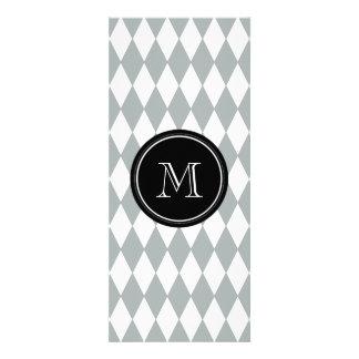 Gray White Harlequin Pattern, Black Monogram Personalized Invite