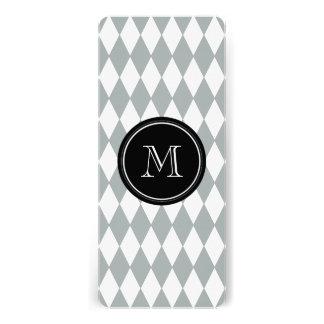 Gray White Harlequin Pattern, Black Monogram Custom Invitations