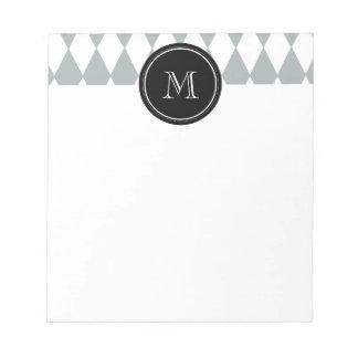 Gray White Harlequin Pattern, Black Monogram Notepad
