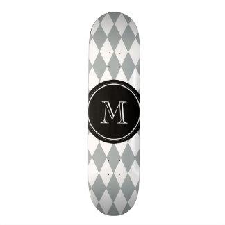Gray White Harlequin Pattern, Black Monogram Custom Skateboard
