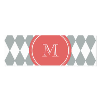Gray White Harlequin Pattern, Coral Monogram Business Card Template
