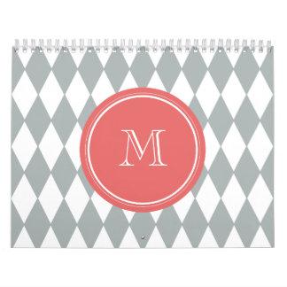 Gray White Harlequin Pattern, Coral Monogram Wall Calendar