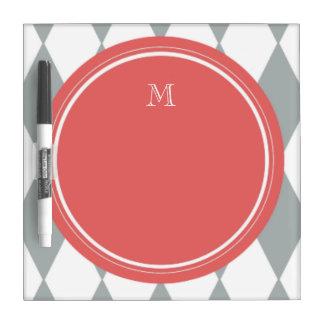 Gray White Harlequin Pattern Coral Monogram Dry Erase Whiteboard