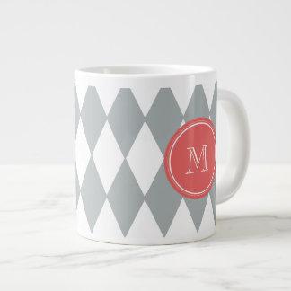 Gray White Harlequin Pattern, Coral Monogram Giant Coffee Mug