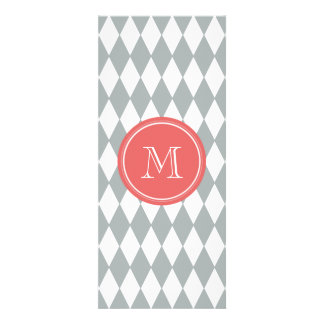 Gray White Harlequin Pattern, Coral Monogram Personalized Invitation