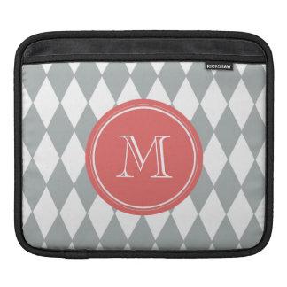 Gray White Harlequin Pattern, Coral Monogram iPad Sleeve