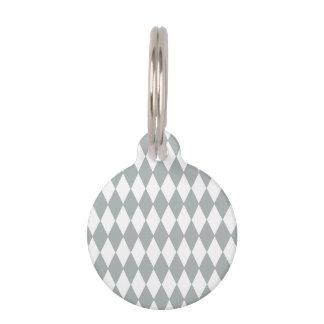 Gray White Harlequin Pattern Pet Tag