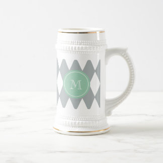 Gray White Harlequin Pattern, Mint Green Monogram Beer Stein